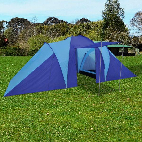 Cort camping 6 persoane, Bleumarin/Albastru deschis