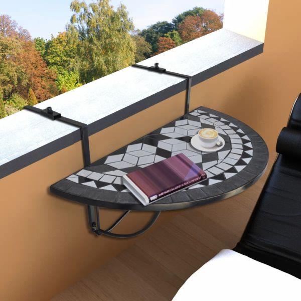 vidaXL Masă de balcon suspendată, negru și alb, mozaic