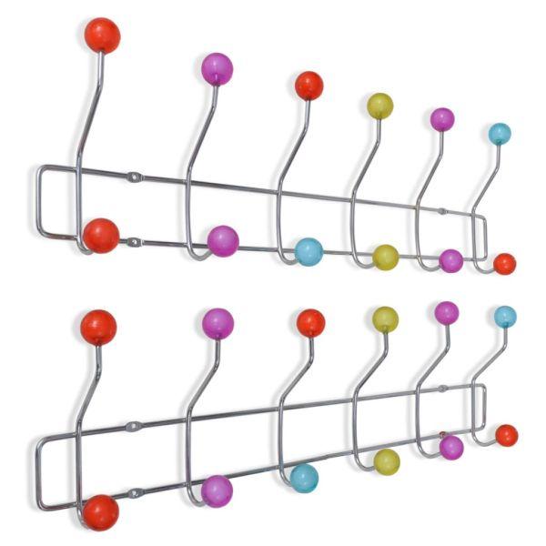 vidaXL Cuier de perete din oțel cu 12 cârlige, 2 buc., multicolor