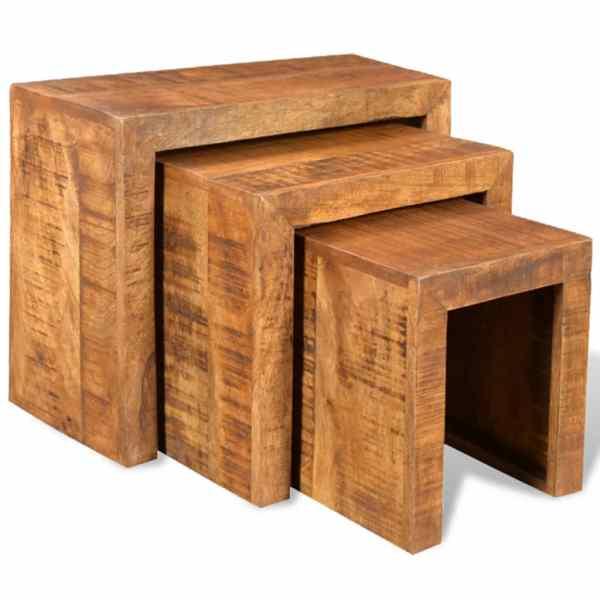 vidaXL Set de mese suprapuse, 3 piese, lemn masiv de mango