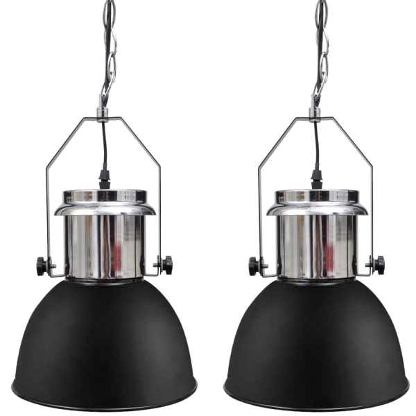 vidaXL Lustră metalică 2 buc., înălțime reglabilă, modernă, negru