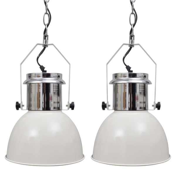 vidaXL Lustră 2 buc, înălțime reglabilă, modernă, alb, metal