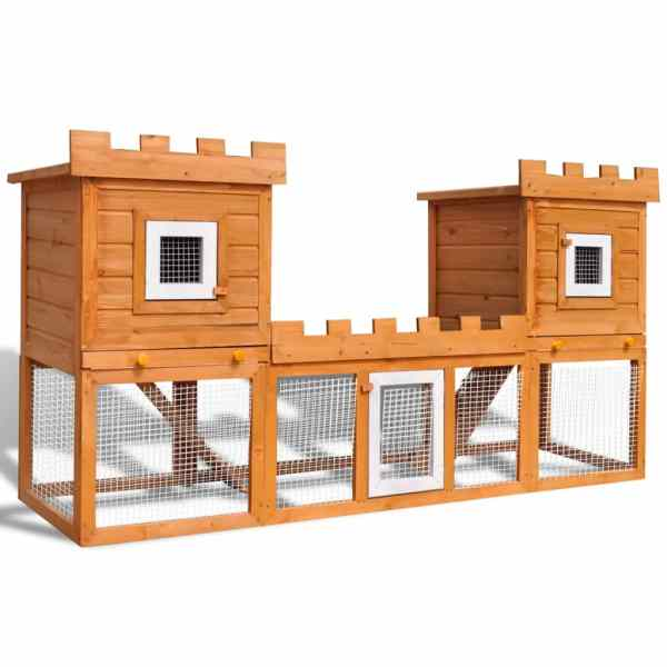 vidaXL Cușcă de iepuri cușcă animale de companie dublă de exterior