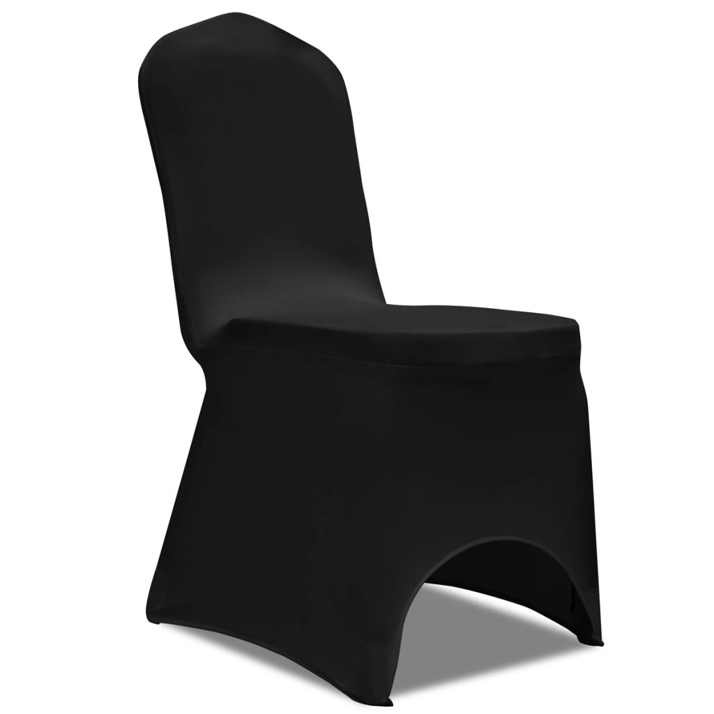 Husă pentru Scaun Elasticizată Negru 6 buc