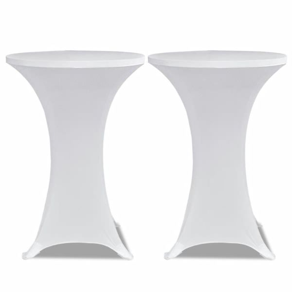 Faţă de masă pentru mese înalte Ø 60 cm Alb Elasticizată 2 buc