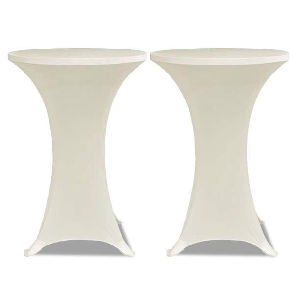 Faţă de masă pentru mese înalte Ø 70 cm Crem Elasticizată 2 buc