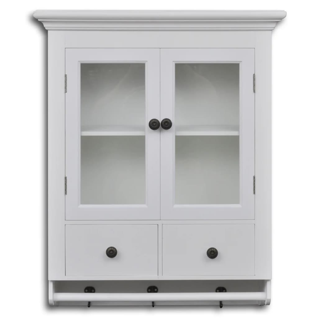 vidaXL Dulap de perete pentru bucătărie, cu ușă din sticlă, lemn, alb