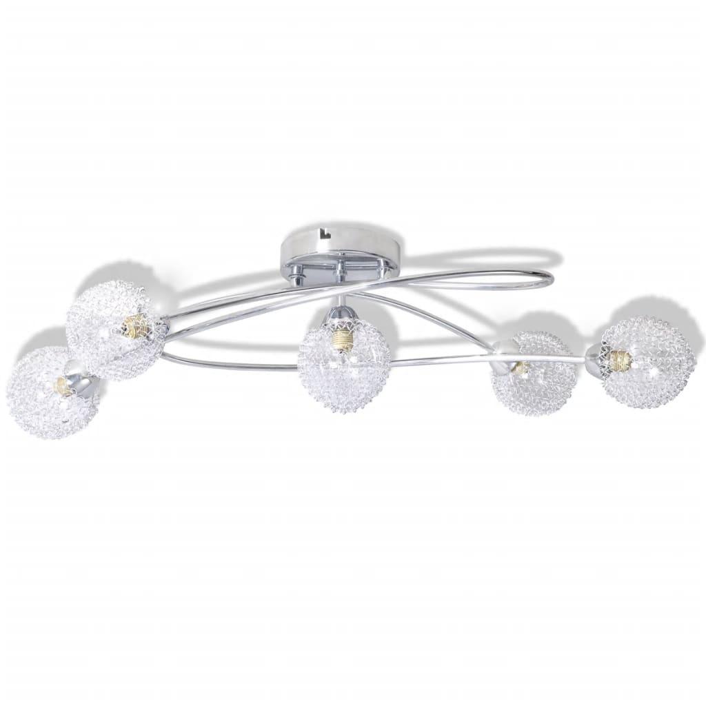Lampă plafon cu abajururi de sticlă în plasă de aluminiu, 5 becuri G9