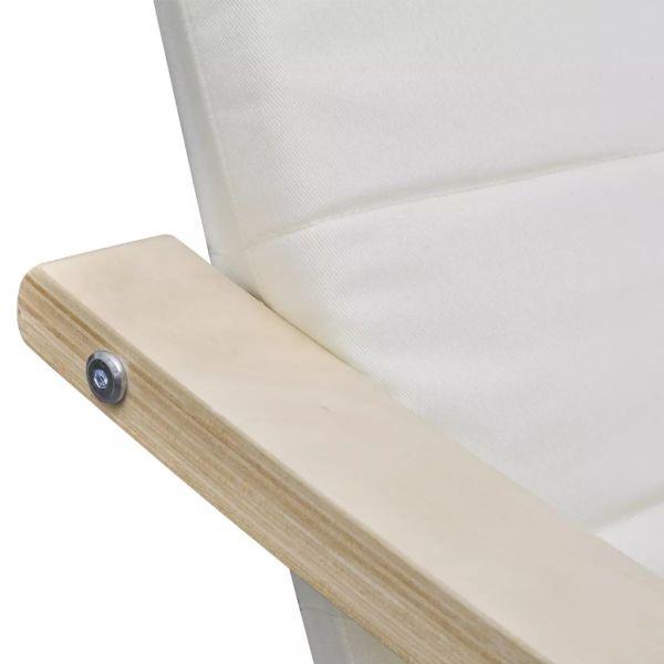 Fotoliu cu ramă din lemn curbat, crem, material textil