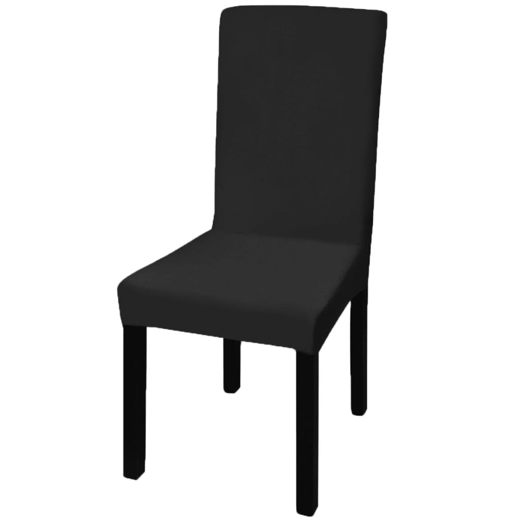 Husă elastică pentru scaun drept 6 buc., negru