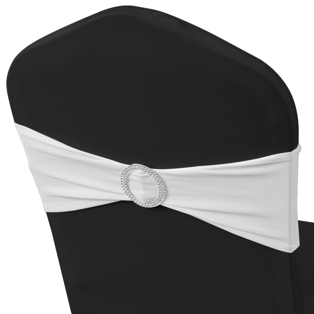 Funde elastice decorative scaun cu cataramă de diamant, 25 buc, alb
