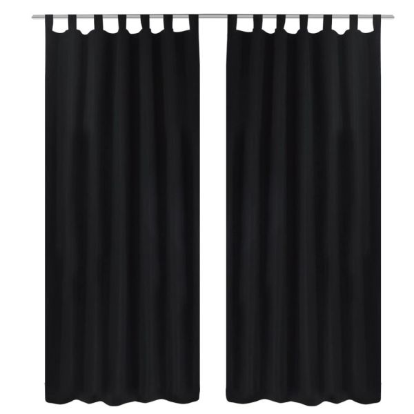 Draperii micro-satin cu bride, 140 x 175 cm, negru, 2 buc.