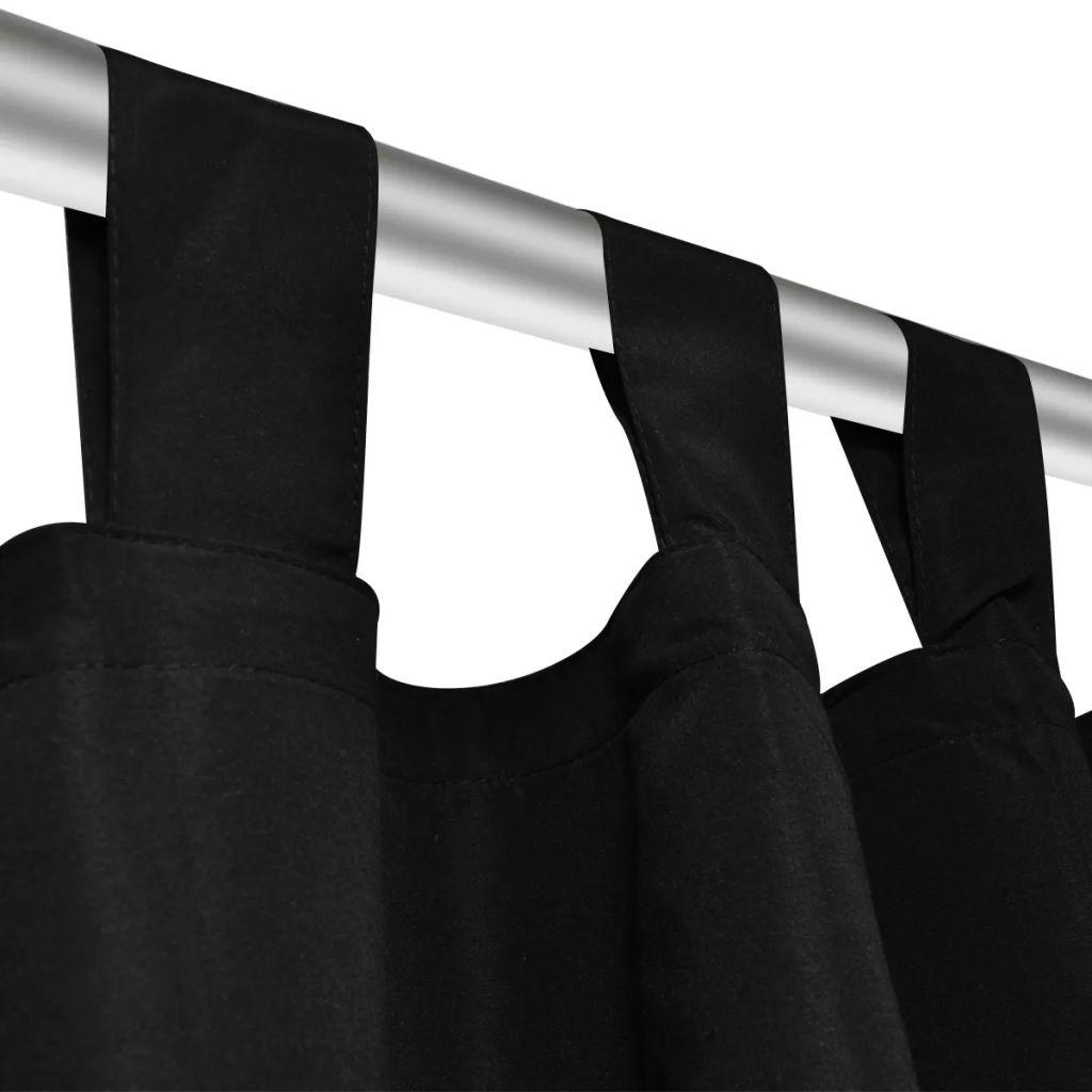 Draperii micro-satin cu bride 140 x 225 cm, Negru, 2 buc.
