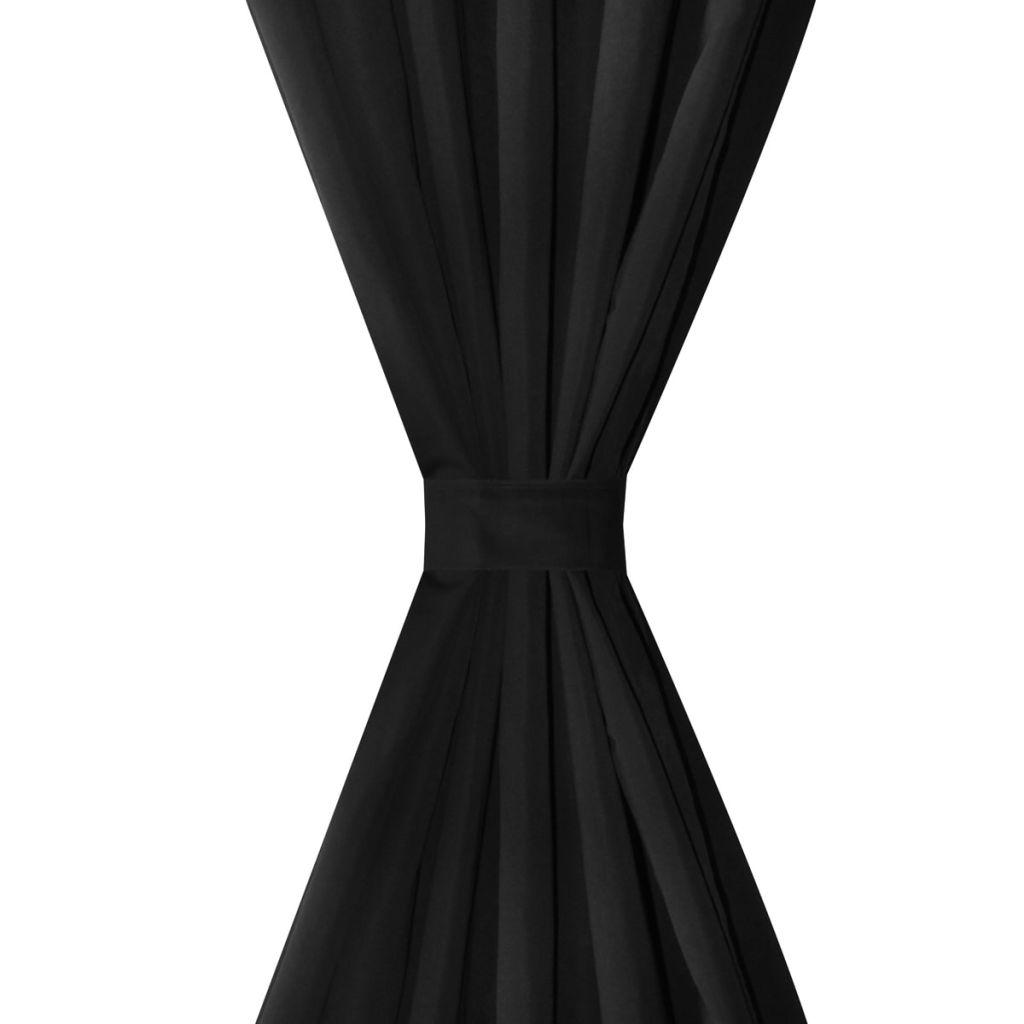 Draperii micro-satin cu bride, 2 buc, 140 x 245 cm, negru
