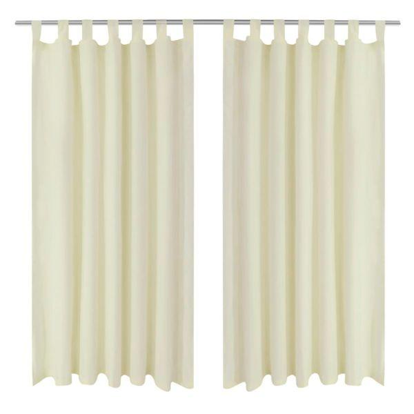 Draperii micro-satin cu bride, 140 x 225 cm, crem, 2 buc.