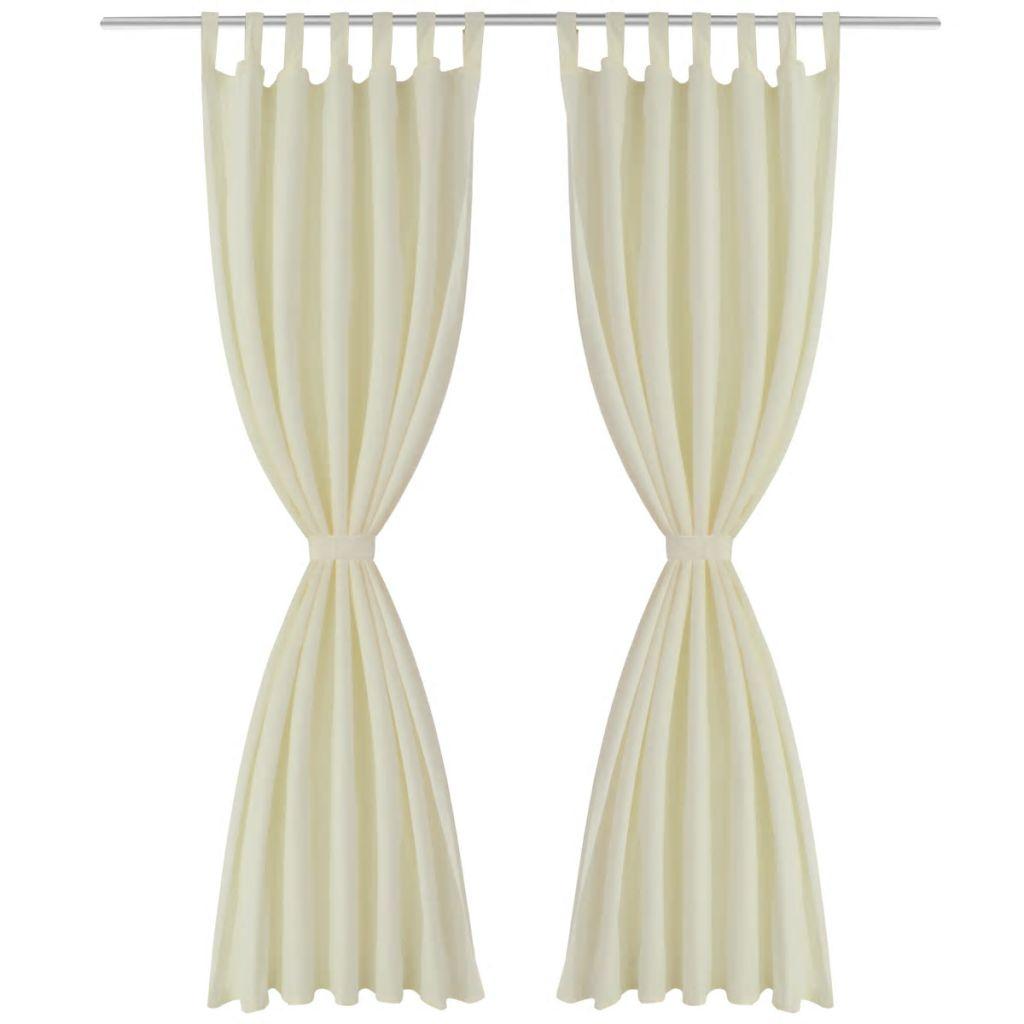 Draperii micro-satin cu bride, 140 x 245 cm, crem, 2 buc.