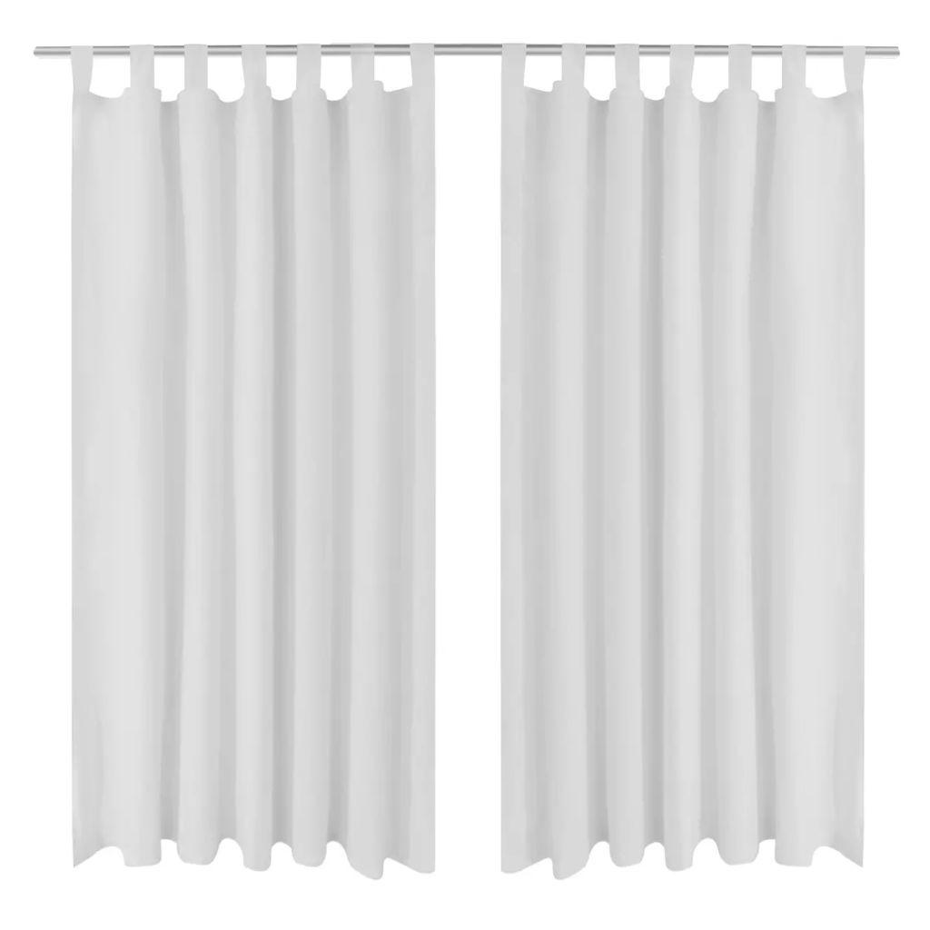Draperii micro-satin cu bride, 140 x 175 cm, alb, 2 buc.