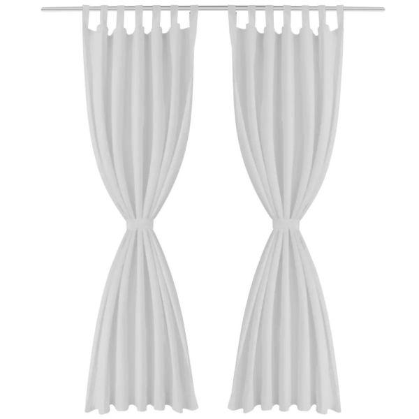 Draperii micro-satin cu bride, 2 buc, 140 x 225 cm, alb