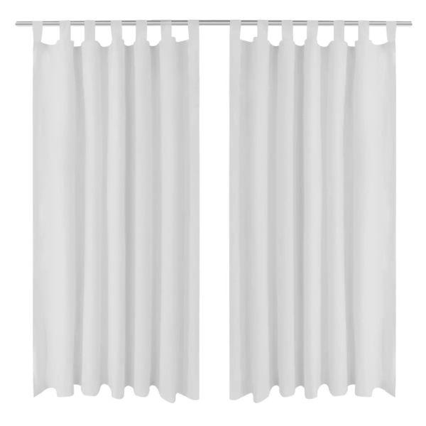 Draperii micro-satin cu bride, 140 x 245 cm, alb, 2 buc.