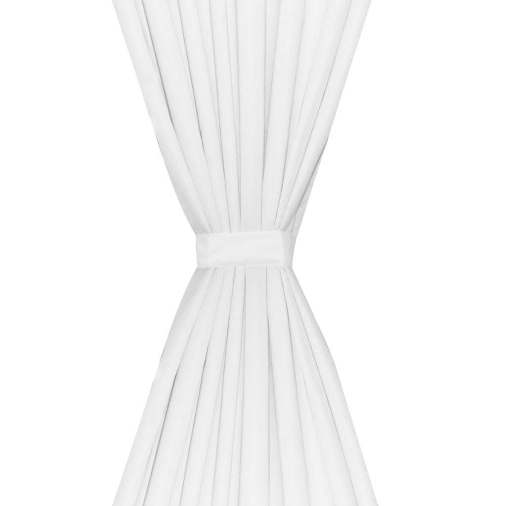 Draperii opace, 2 buc., strat dublu, 140 x 245 cm, alb