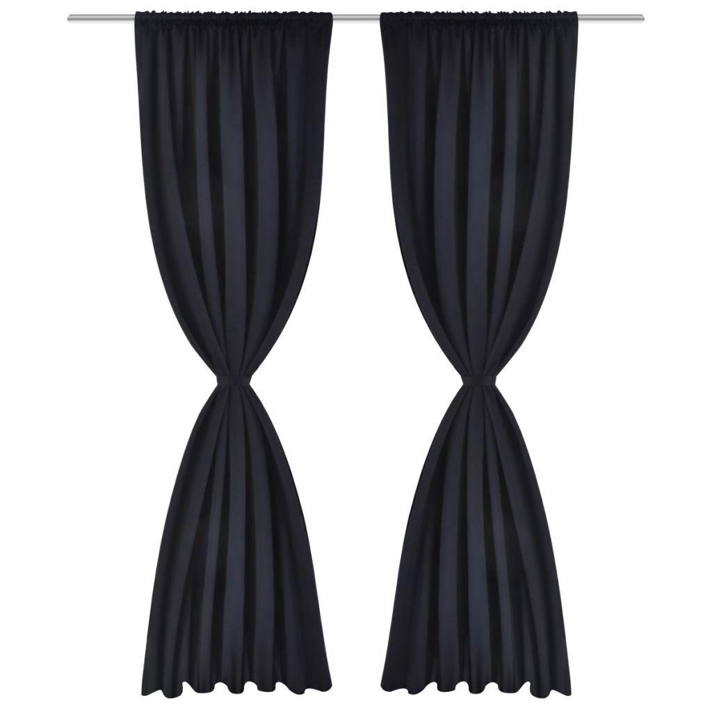 2 Perdele negre opace cu rejansă 135 x 245 cm