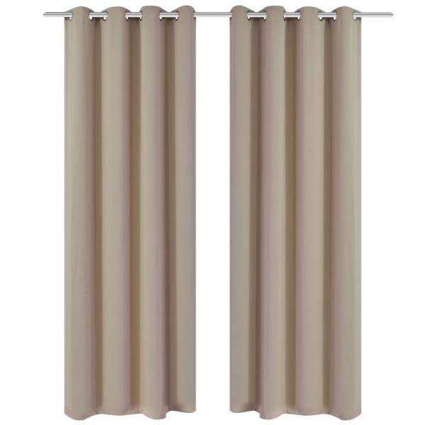 Draperii opace cu inele metalice 2 buc. 135 x 245 cm, crem