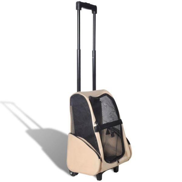 Troller pentru animale de companie multifuncțional, pliabil, bej
