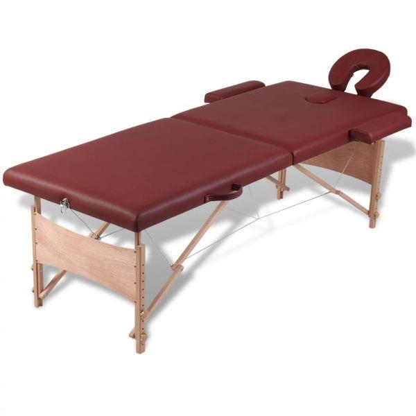 Masă de masaj pliabilă 2 părți cadru din lemn Roșu