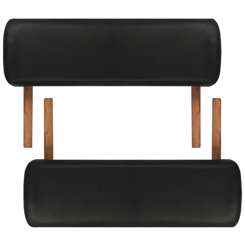 Masă de masaj pliabilă 3 părți cadru din lemn Negru
