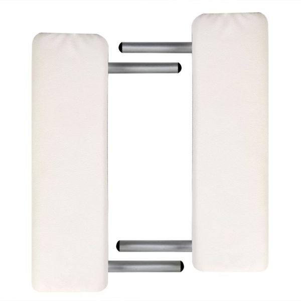 Masă masaj pliabilă, 2 zone, alb crem, cadru aluminiu