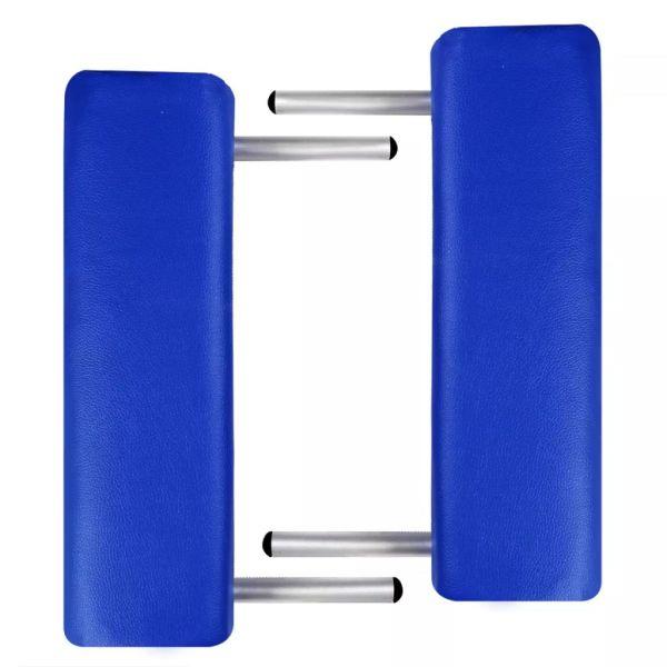 Masă masaj pliabilă, 2 zone, albastru, cadru aluminiu
