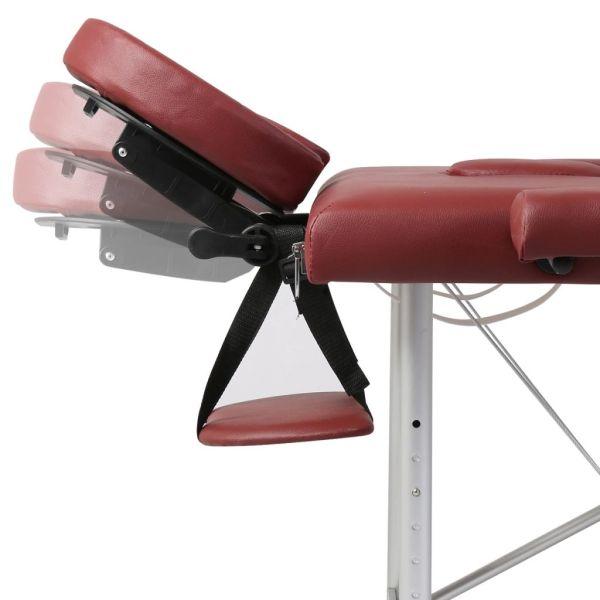 vidaXL Masă masaj pliabilă, 2 zone, roșu, cadru aluminiu