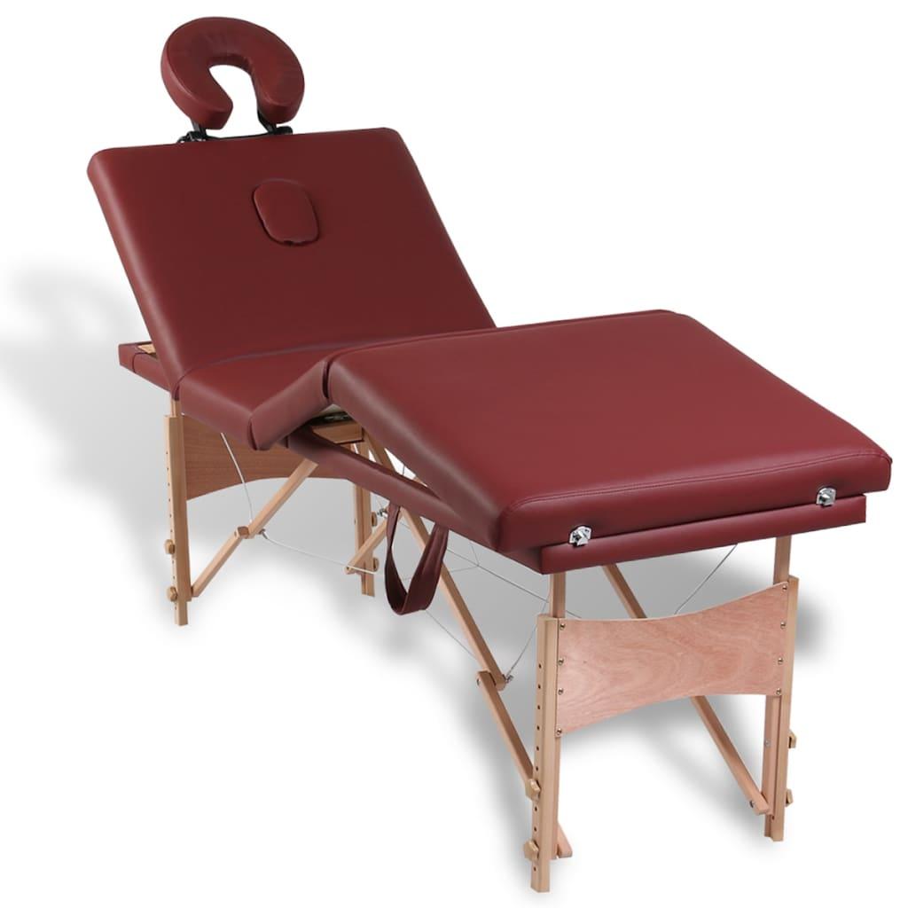 Masă de masaj roșie cu 4 zone și cadru din lemn