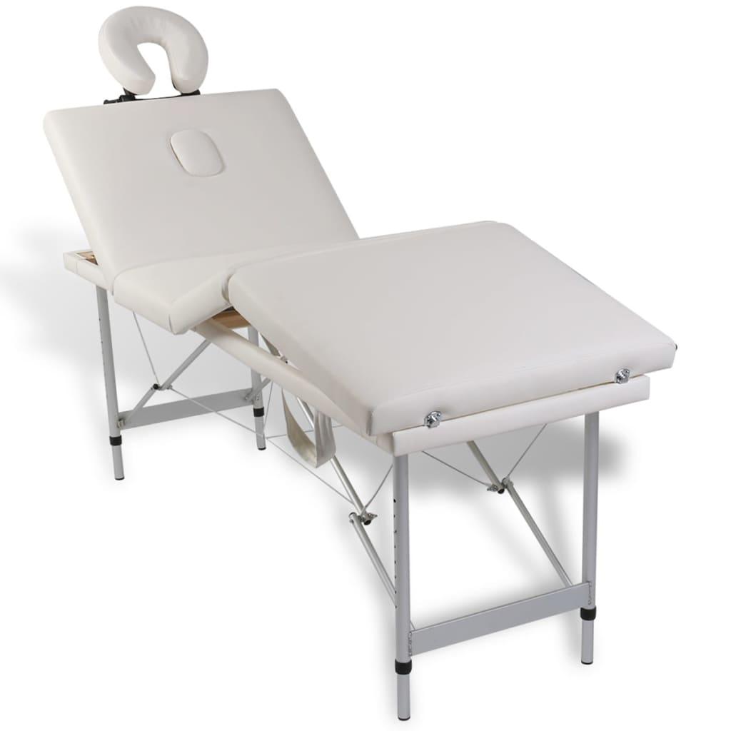 Masă de masaj pliabilă 4 părți cadru din aluminiu Crem
