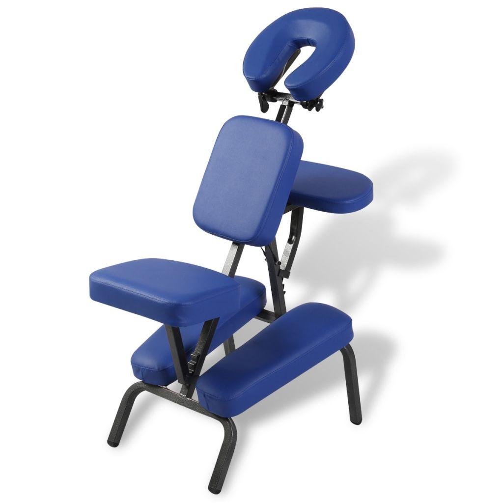 vidaXL Scaun de masaj pliabil & portabil, albastru