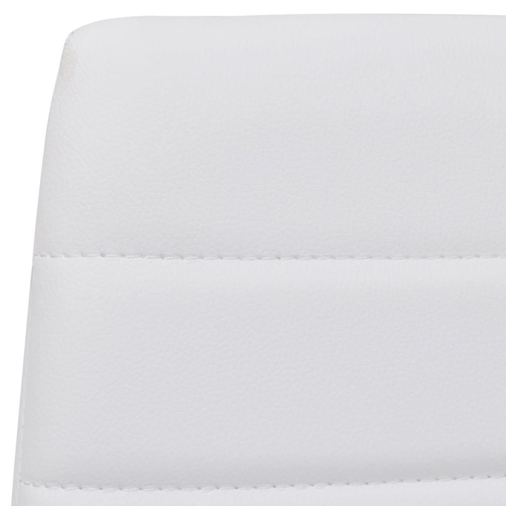 Scaune de bucătărie, 4 buc., alb, piele ecologică