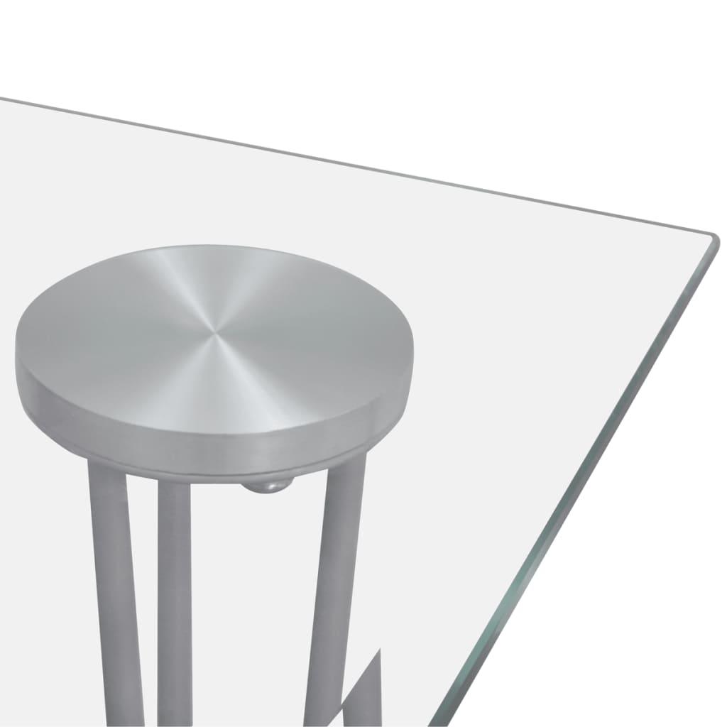 vidaXL Masă de bucătărie cu blat din sticlă, transparent