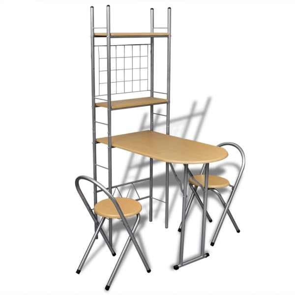 Set mobilier tip bar pliabil pentru micul dejun cu 2 scaune