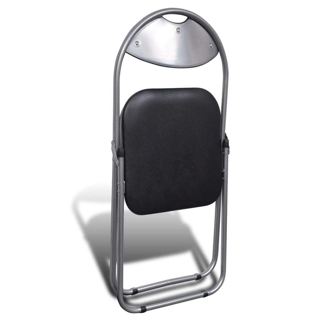 Scaune bucătărie pliabile 6 buc, negru, piele ecologică & oțel