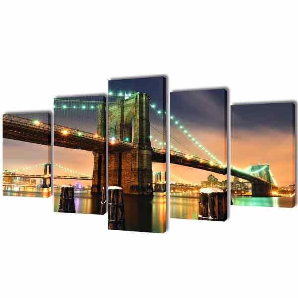 Set tablouri de perete cu imprimeu podul Brooklyn , 200 x 100 cm