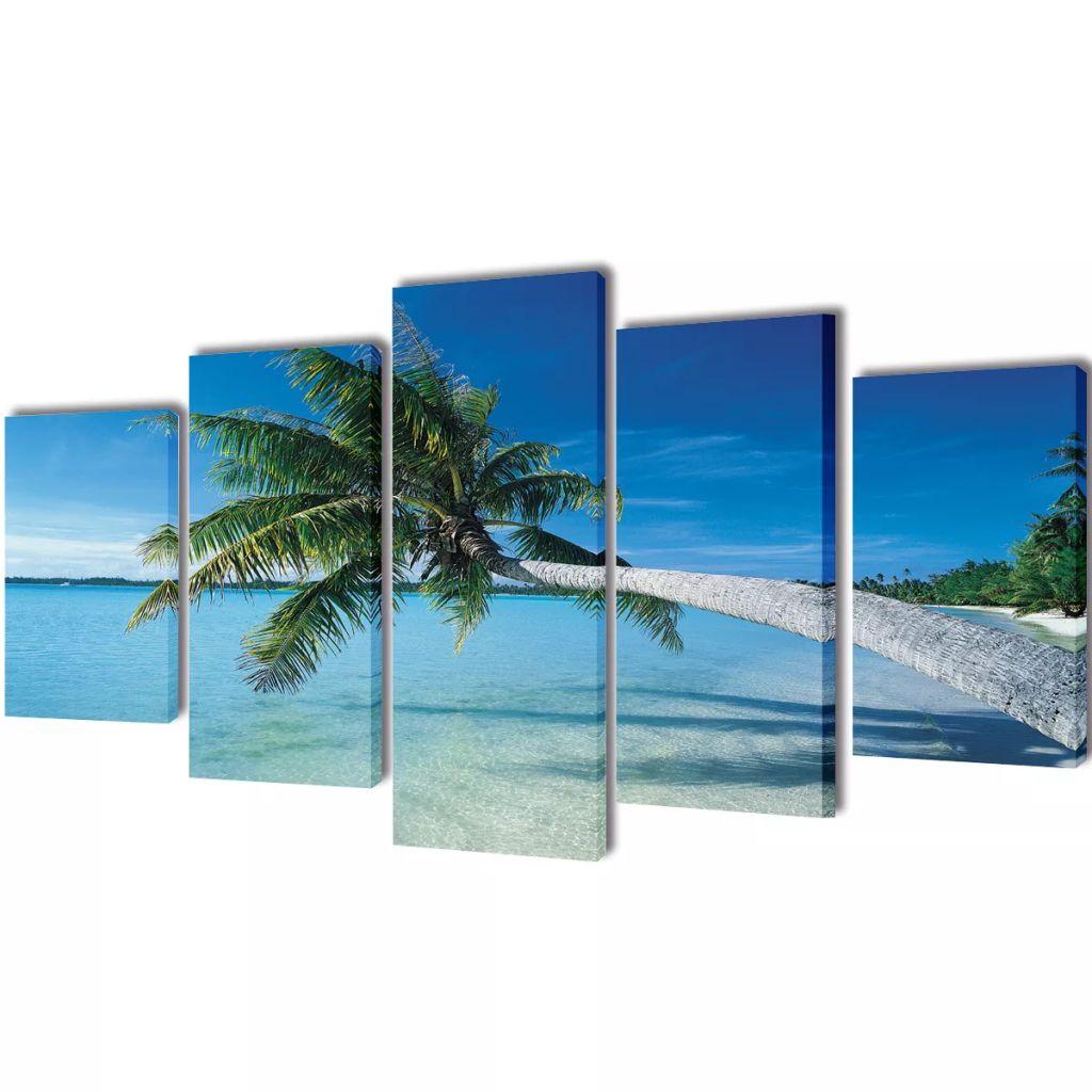 Set tablouri imprimate de pânză, plajă nisip cu palmier, 100 x 50 cm