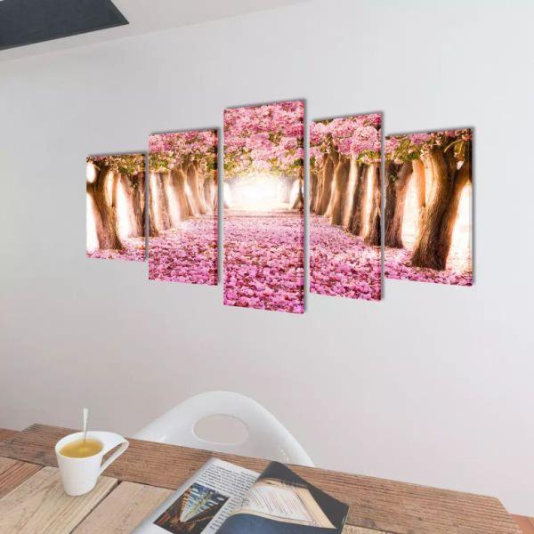 Set tablouri de pânză cireși în floare 200 x 100 cm