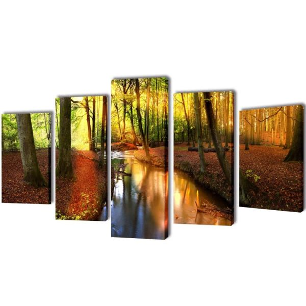 Set de tablouri din pânză cu temă pădure 100 x 50 cm