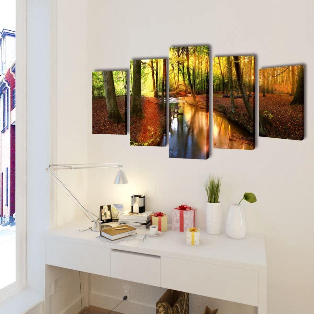 Set tablouri de perete cu imprimeu pădure, 200 x 100 cm