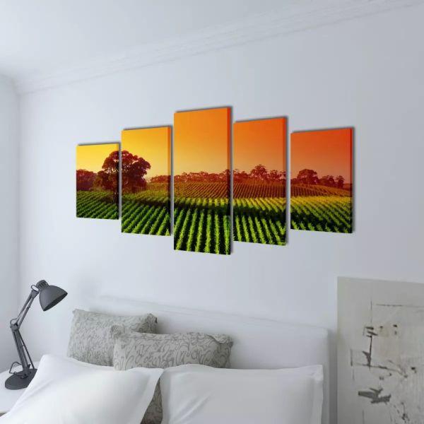 Set tablouri din pânză cu imprimeu câmpuri 100 x 50 cm