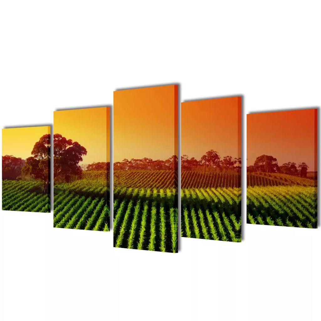 Set tablouri pânză imprimeu câmp 200 x 100 cm