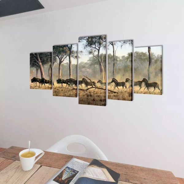 Set tablouri imprimate pe pânză Zebre 200 x 50 cm
