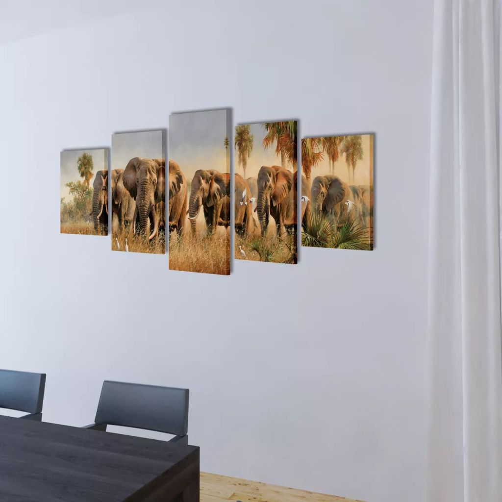 Set de tablouri din pânză cu imprimeu cu elefanți 200 x 100 cm