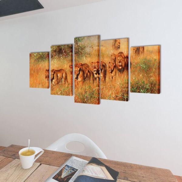 Set tablouri de pânză cu imprimeu lei 200 x 100 cm