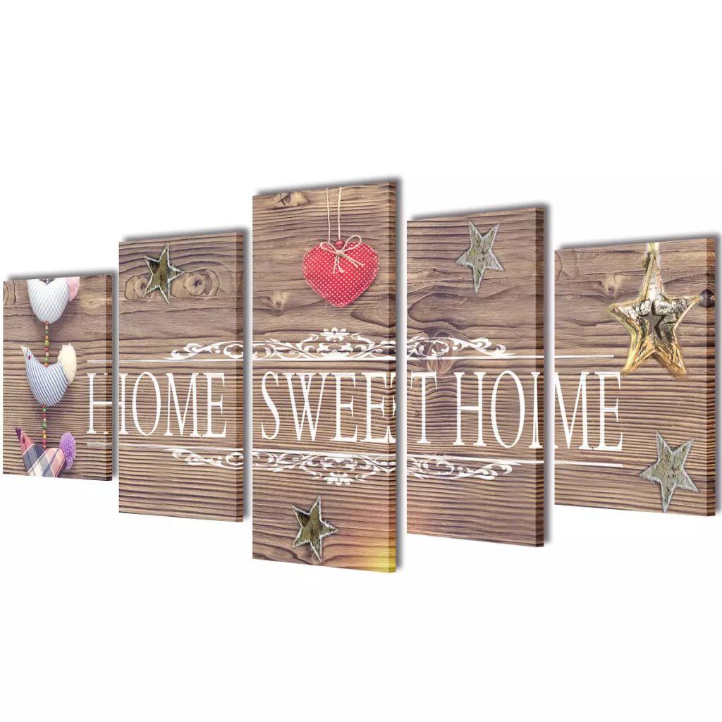 Set tablouri de perete cu imprimeu Home Sweet Home, 200 x 100 cm